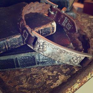 Vintage Sterling & Leather Weaved Bracelet